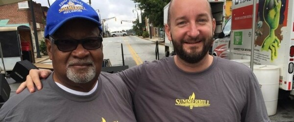 Geoff Heard, Executive Director of Summerhill Neighborhood Corp (SNDC) is on the left and Bryan Adams, Vice-President of the Organized Citizens of Summerhill is on the right. Photographer is not knows.