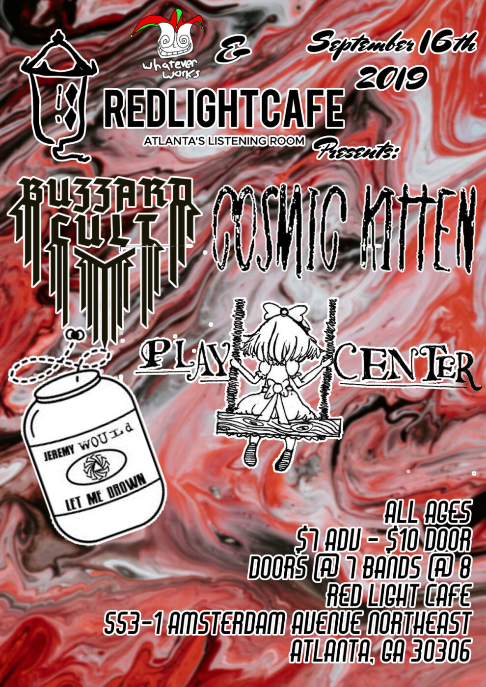 Play Center Jeremy Would Let Me Drown Cosmic Kitten Buzzard Cult At Red Light Cafe Atlanta Ga Sep 16 2019 Poster 1200