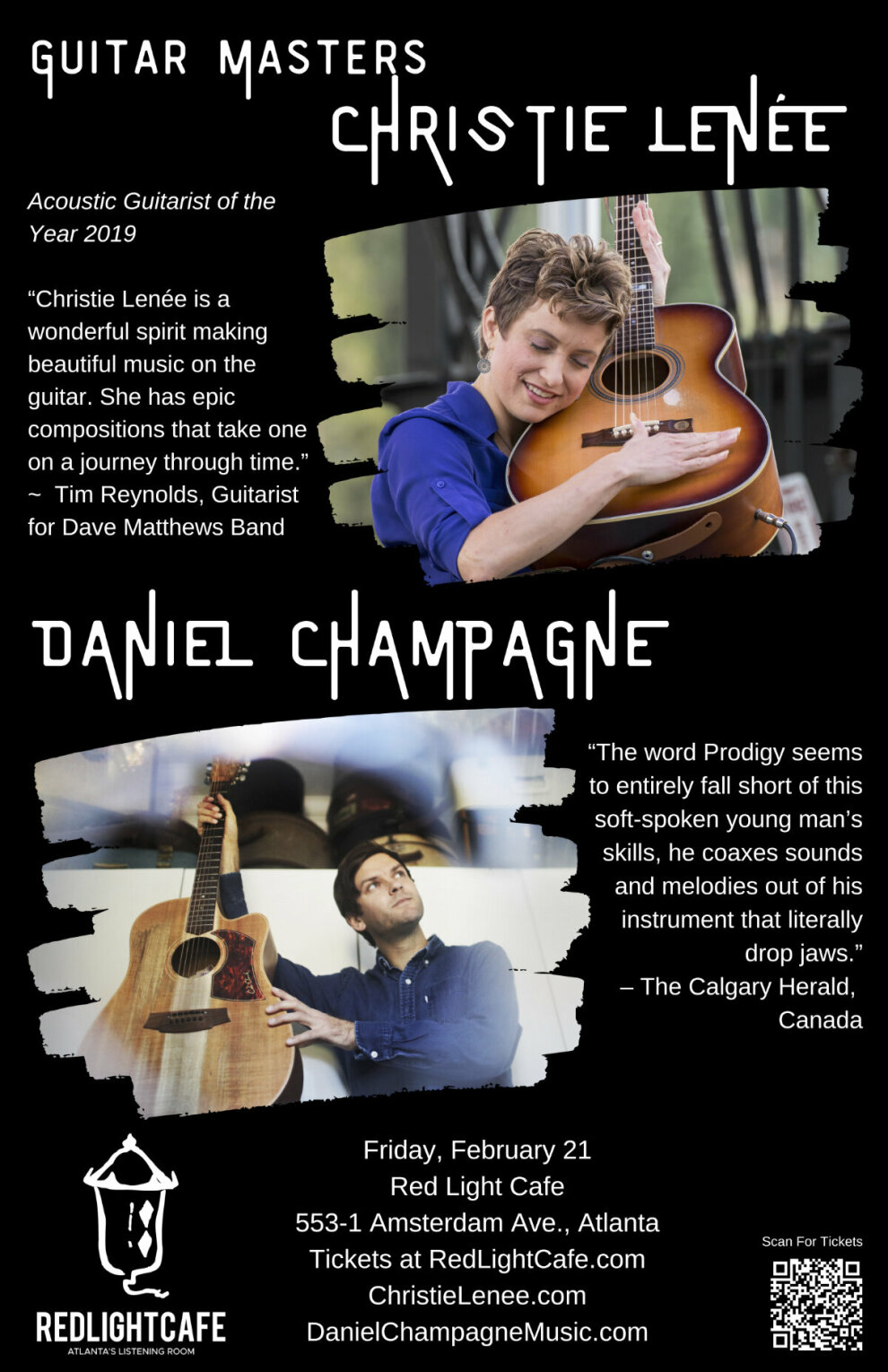 Guitar Masters Daniel Champagne Christie Lenee At Red Light Cafe Atlanta Ga Feb 21 2020 Poster 1200