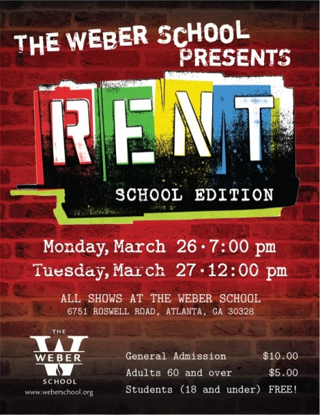 2018 Spring Musical Production RENT Flyer