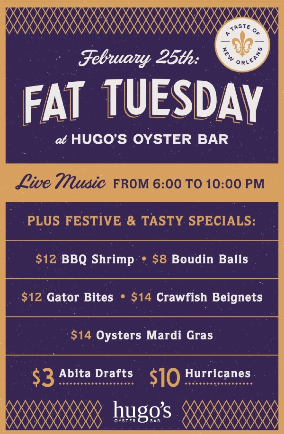 Hugos Fat Tuesday Table Tent 01