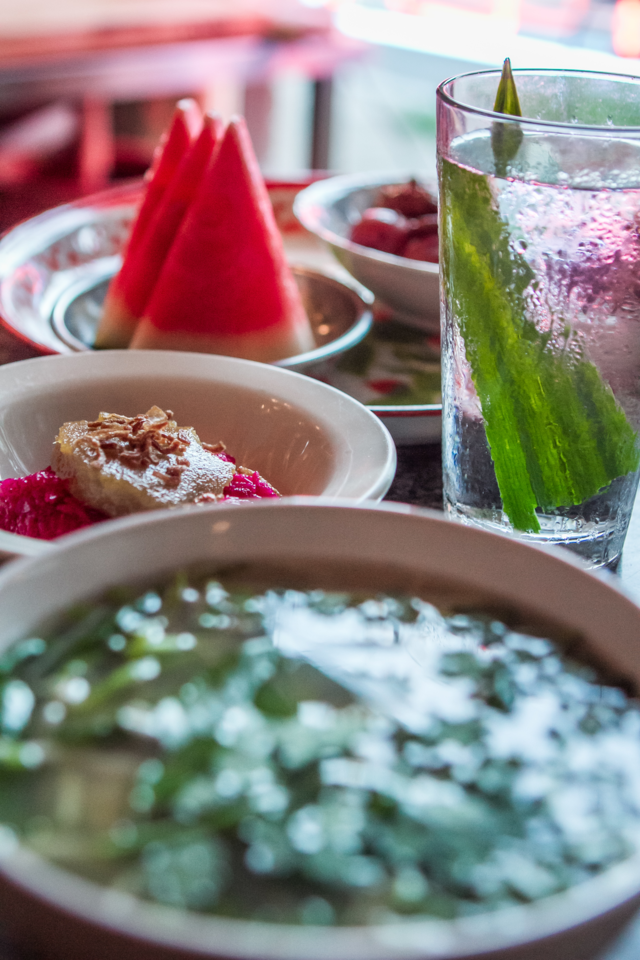 SUNDAY SPREAD: Talat Market's water is steeped with pandan leaves, giving it a nutty flavor. Photo by Eric Cash