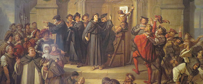 19th-century painting by Julius Hübner depicting Luther's posting of the Theses before a crowd.