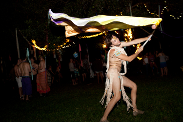 CUTLINE: DANCING WITH MYSELF: The Radical Faeries let their freak flag fly at the Summer Solstice party. Photo by Dustin Chambers/CL 2011