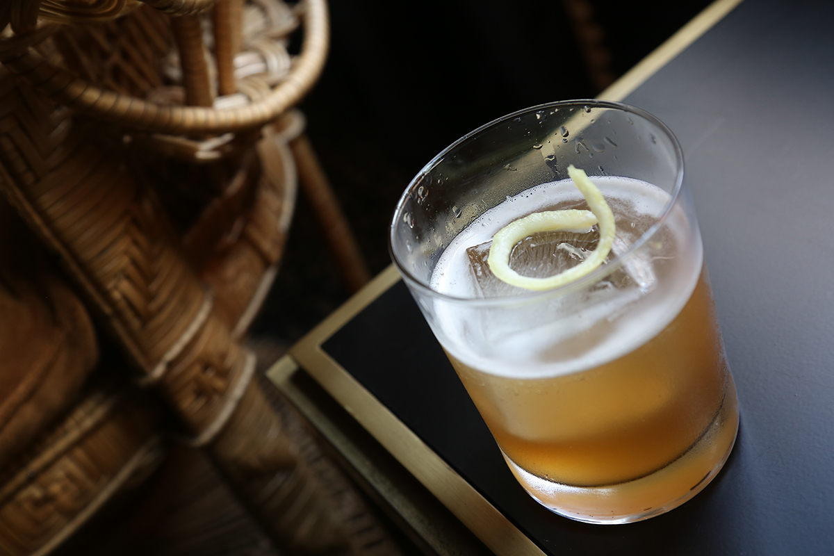 Twigg & Carries: Old Overholt rye whiskey, mesquite tea, lemon juice, maple syrup, barrel-aged Havana & Hide bitters. Photo credit: Brandon English.