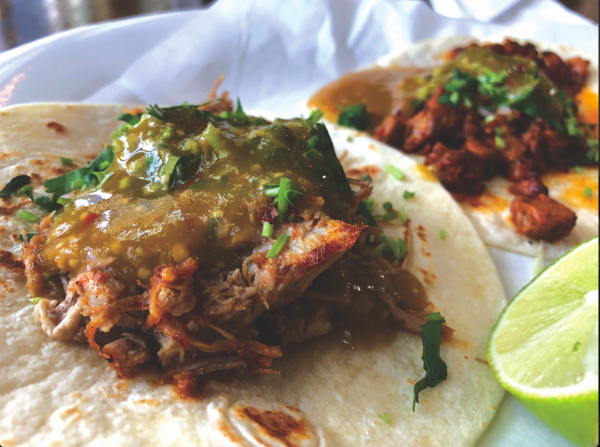 PATRIA'S COCINA: Street tacos of carnitas (foreground) and al pastor. PHOTO CREDIT: Cliff Bostock.